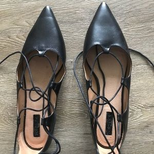 Topshop Lace Up Black Tie Flats